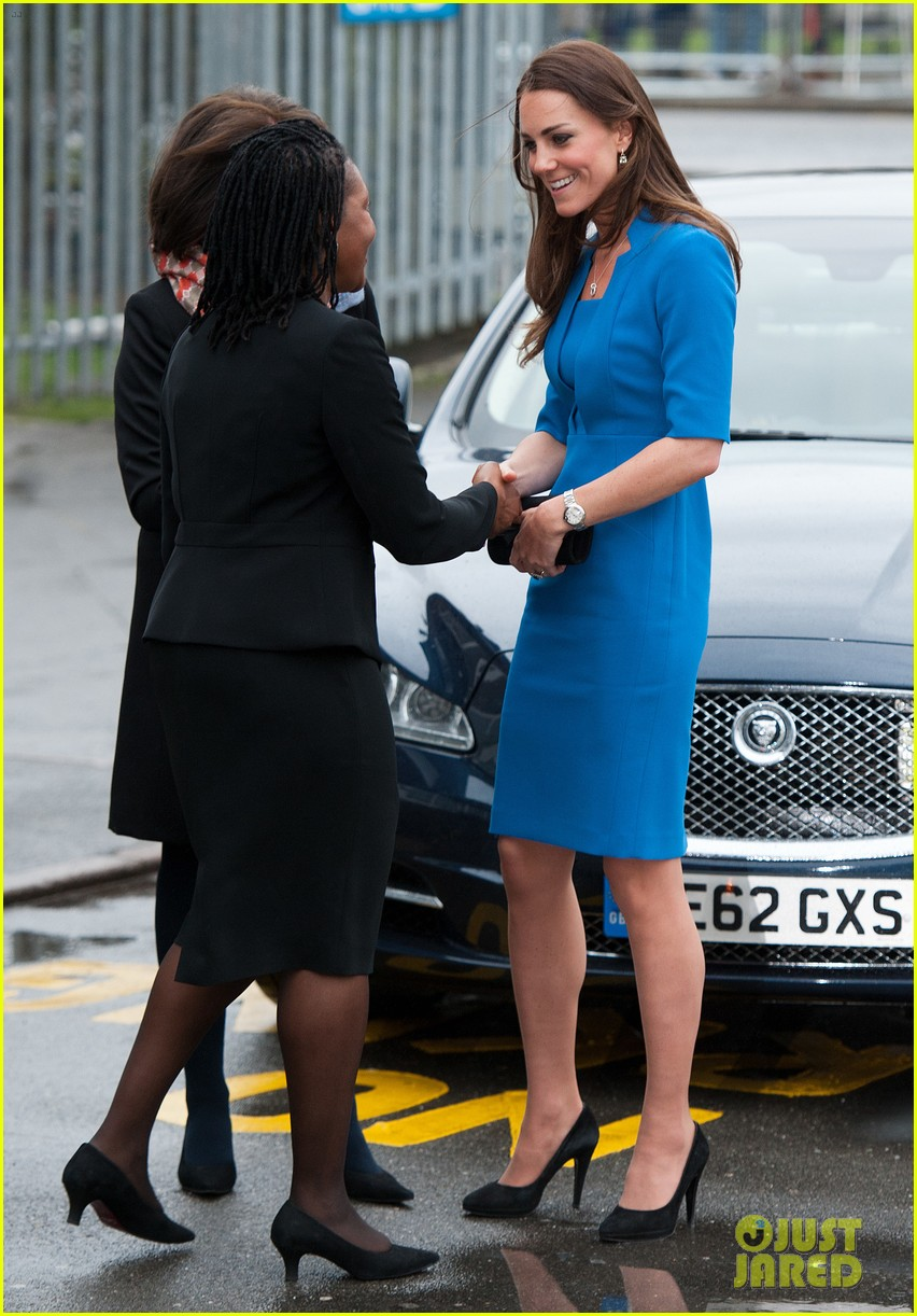 Catherine, Duchess of Cambridge arrives for the opening of the ICAP Art Room at Northolt High School