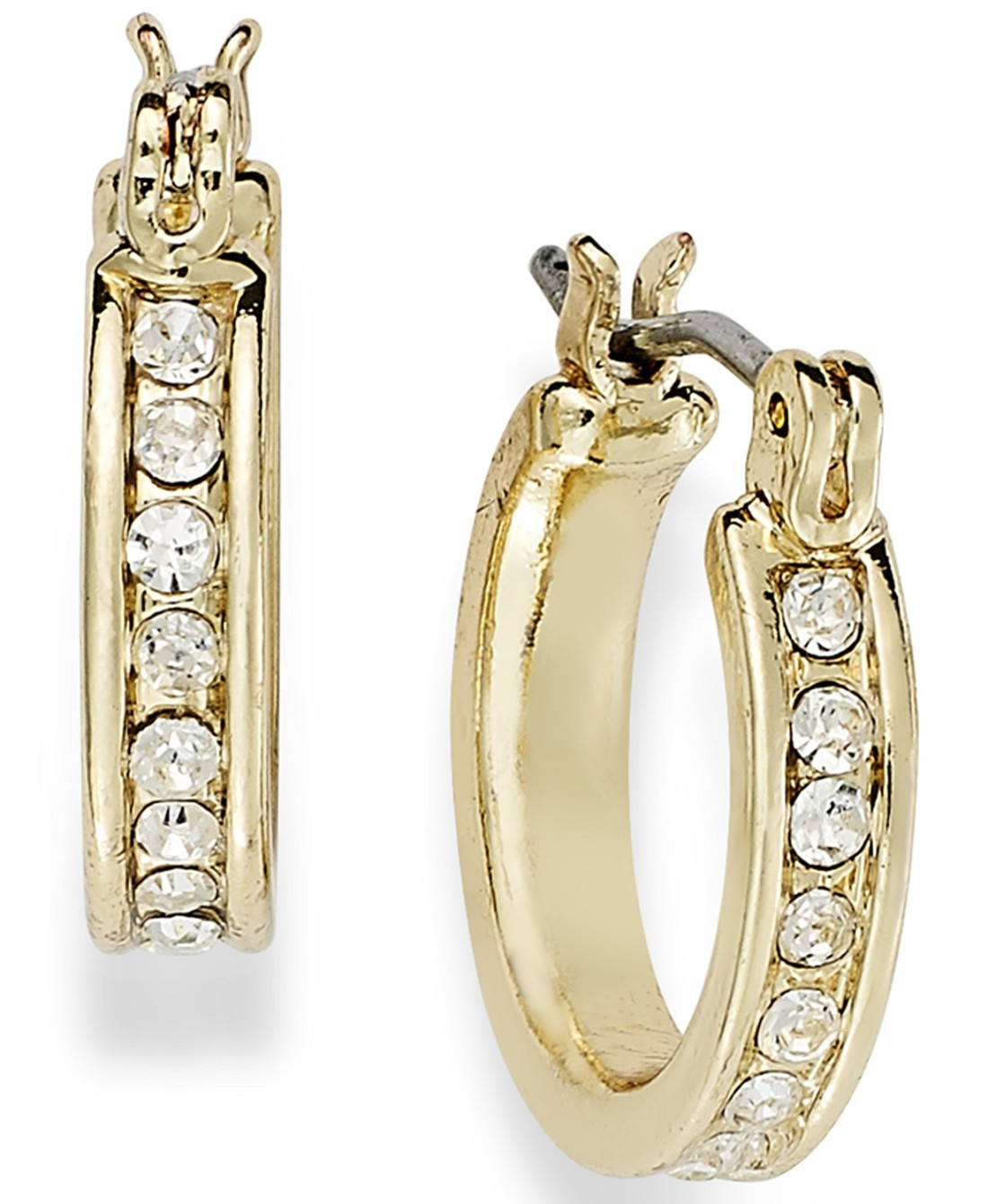 Charter Club Gold-Tone Crystal Mini Hoop Earrings from Macy's