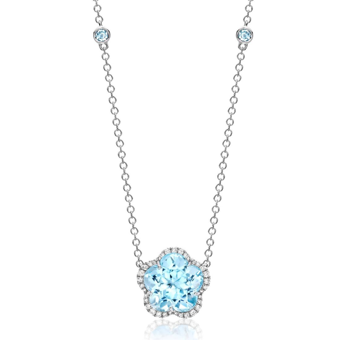 Eden Blue Topaz and 18ct White Gold Flower Necklance