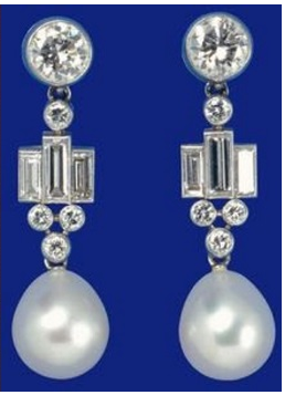 The Queen_s Bahrain Pearl and Diamond Drop earrings